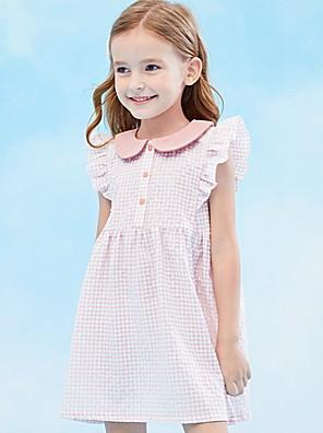 cheap Girls' Dresses-Kids Girls' Plaid Dress Blushing Pink