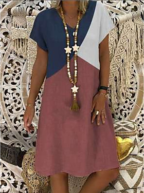 cheap Summer Dresses-Women's Shift Dress - Short Sleeves Color Block Summer Elegant 2020 Wine Khaki Gray S M L XL XXL XXXL XXXXL XXXXXL