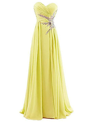 cheap Evening Dresses-Sheath / Column Elegant Sparkle Engagement Prom Dress Sweetheart Neckline Sleeveless Floor Length Spandex with Pleats Crystals 2020