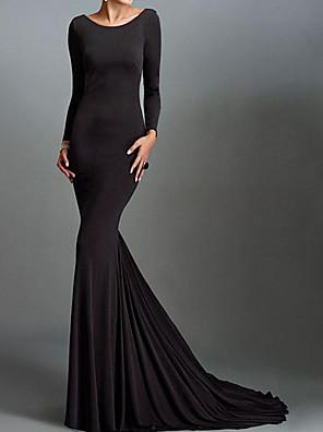 cheap Evening Dresses-Mermaid / Trumpet Beautiful Back Reformation Amante Engagement Formal Evening Dress Jewel Neck Long Sleeve Sweep / Brush Train Spandex with Sleek 2020