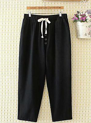 cheap Women's Pants-Women's Active Basic Daily Weekend Loose Wide Leg Chinos Pants - Solid Colored Drawstring Black Khaki Green L / XXL / XXXXL