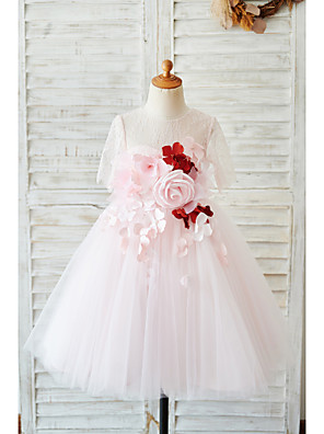 cheap Christening Gowns-Ball Gown Knee Length Wedding / Birthday Flower Girl Dresses - Lace / Tulle Sleeveless Jewel Neck with Petal / Pearls