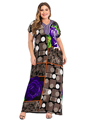 cheap Plus Size Dresses-Women's A-Line Dress Maxi long Dress - Short Sleeves Color Block Summer Casual Mumu 2020 Brown L XL XXL XXXL