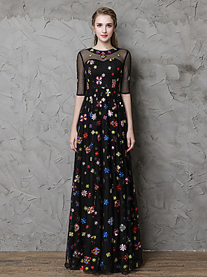 cheap Evening Dresses-A-Line Floral Black Party Wear Formal Evening Dress Jewel Neck Half Sleeve Floor Length Lace Tulle with Embroidery 2020