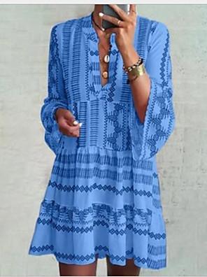 cheap Casual Dresses-Women's Shirt Dress - Long Sleeve Geometric Summer Casual 2020 Blue S M L XL XXL