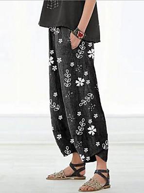 cheap Women's Pants-Women's Basic Loose Chinos Pants - Print Black Red Light gray S / M / L