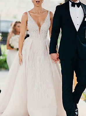 cheap Wedding Dresses-A-Line Wedding Dresses V Neck Sweep / Brush Train Tulle Sequined Sleeveless Sexy Backless with 2020