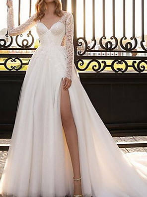 cheap Evening Dresses-A-Line Wedding Dresses V Neck Court Train Lace Satin Tulle Long Sleeve Country Sexy See-Through with Split Front 2020
