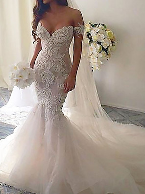 cheap Wedding Dresses-Mermaid / Trumpet Wedding Dresses V Neck Court Train Lace Tulle Short Sleeve Romantic See-Through with Embroidery 2020