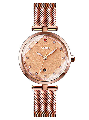 cheap Quartz Watches-SKMEI Ladies Quartz Watches Quartz Formal Style Modern Style Minimalist Water Resistant / Waterproof Stainless Steel Black / Blue / Rose Gold Analog - Rose Gold White Black One Year Battery Life