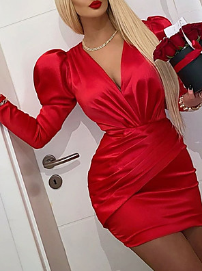 cheap Evening Dresses-Sheath / Column Vintage Red Homecoming Cocktail Party Dress V Neck Long Sleeve Short / Mini Satin with Ruched 2020
