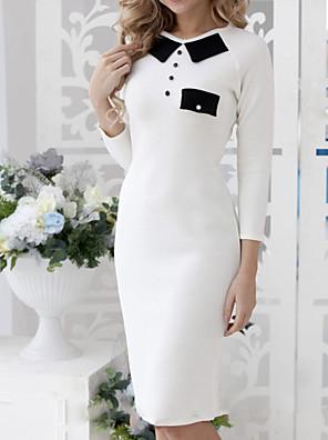 cheap Prom Dresses-Sheath / Column Mother of the Bride Dress Elegant Jewel Neck Knee Length Spandex 3/4 Length Sleeve with Color Block 2020
