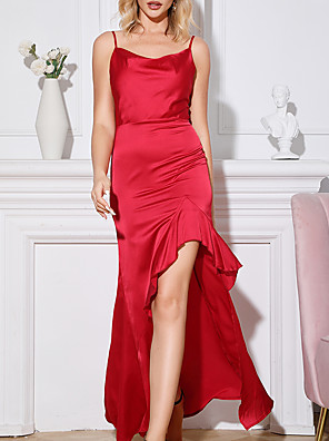 cheap Evening Dresses-A-Line Sheath / Column Chinese Style Vintage Party Wear Dress Scoop Neck Sleeveless Floor Length Satin with Sleek 2020