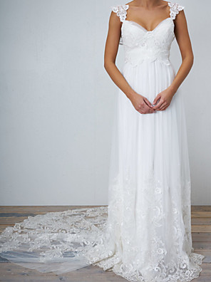 cheap Prom Dresses-A-Line Wedding Dresses V Neck Chapel Train Lace Tulle Sleeveless Sexy Wedding Dress in Color See-Through with Lace Insert Appliques 2020