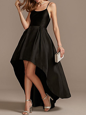 cheap Prom Dresses-A-Line Minimalist Black Engagement Cocktail Party Dress Spaghetti Strap Sleeveless Asymmetrical Satin with Pleats 2020