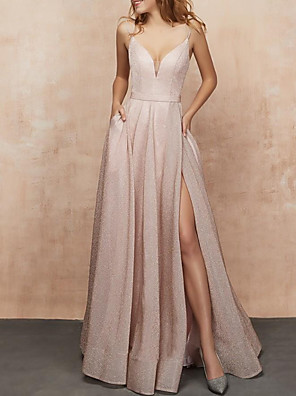 cheap Evening Dresses-A-Line Glittering Minimalist Engagement Prom Dress V Neck Sleeveless Floor Length Nylon with Pleats Split 2020