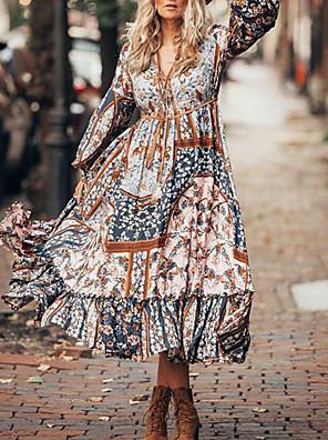cheap Romantic Lace Dresses-Summer Floral Print Dress