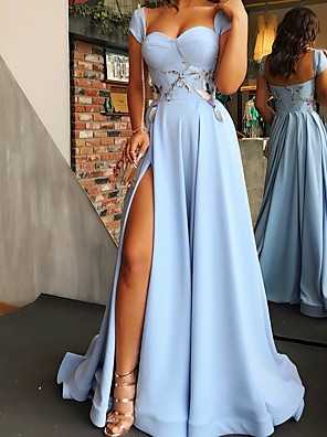cheap Evening Dresses-A-Line Elegant Floral Engagement Prom Dress Scoop Neck Sleeveless Sweep / Brush Train Satin with Split Appliques 2020