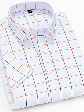 cheap Men's Shirts-Men's Plaid Print Shirt Daily Button Down Collar White / Short Sleeve
