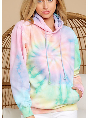 cheap Women's T-shirts-Women's Pullover Hoodie Sweatshirt Tie Dye Basic Hoodies Sweatshirts  Rainbow