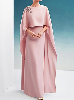 cheap Evening Dresses-Sheath / Column Elegant Pink Engagement Formal Evening Dress Jewel Neck 3/4 Length Sleeve Floor Length Chiffon with Appliques 2020