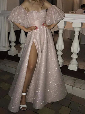 cheap Prom Dresses-A-Line Sparkle Pink Party Wear Prom Dress Off Shoulder Short Sleeve Floor Length Sequined with Sequin Split 2020