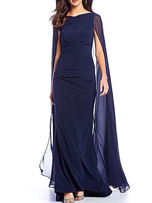cheap Mother of the Bride Dresses-Sheath / Column Mother of the Bride Dress Elegant Jewel Neck Sweep / Brush Train Chiffon Sleeveless with Ruching 2020