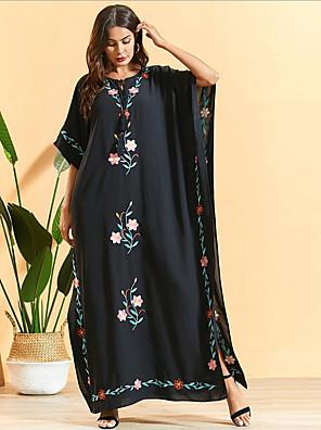 cheap Maxi Dresses-Women's Sundress Maxi long Dress - Half Sleeve Print Summer Casual Boho 2020 Black Beige One-Size