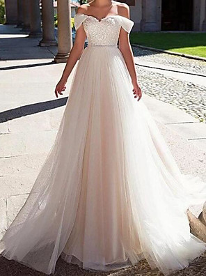 cheap Wedding Dresses-A-Line Wedding Dresses Off Shoulder Sweep / Brush Train Lace Tulle Short Sleeve Formal with Sashes / Ribbons Crystals 2020