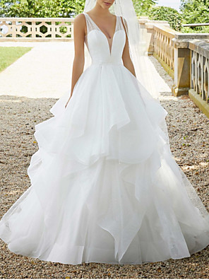 cheap Wedding Dresses-Ball Gown Wedding Dresses V Neck Sweep / Brush Train Organza Sequined Sleeveless Sexy See-Through with Cascading Ruffles 2020