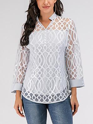 povoljno Bluza-Žene Jednobojni Geometrija Čipka Bluza Kauzalni V izrez Sive boje