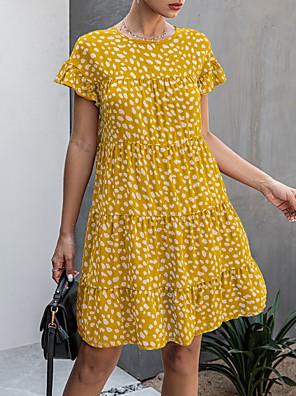 cheap Mini Dresses-Women's Shift Dress - Short Sleeves Floral Summer Casual 2020 Wine White Black Blue Yellow Brown Navy Blue S M L XL XXL