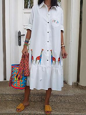 cheap Casual Dresses-Women's Shift Dress - Half Sleeve Floral Summer Elegant 2020 White S M L XL