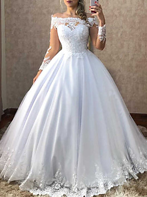 cheap Wedding Veils-Ball Gown Wedding Dresses Off Shoulder Sweep / Brush Train Polyester Long Sleeve Country Plus Size with Appliques 2020