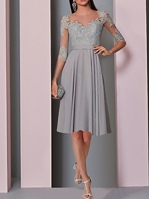 cheap Cocktail Dresses-A-Line Elegant Grey Party Wear Cocktail Party Dress Illusion Neck Half Sleeve Knee Length Chiffon with Pleats Lace Insert 2020