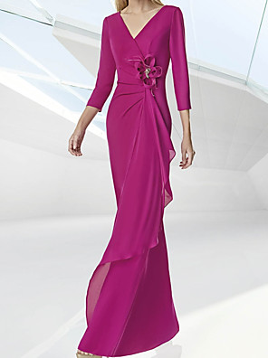 cheap Evening Dresses-Mermaid / Trumpet Mother of the Bride Dress Elegant V Neck Floor Length Chiffon 3/4 Length Sleeve with Ruching Flower 2020