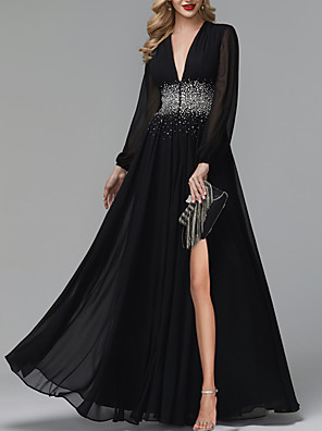 cheap Prom Dresses-A-Line Luxurious Black Party Wear Formal Evening Dress V Neck Long Sleeve Floor Length Tulle with Pleats Sequin Split 2020
