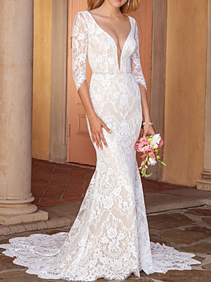 cheap Prom Dresses-Sheath / Column Wedding Dresses V Neck Court Train Lace Half Sleeve Country Wedding Dress in Color with Lace Insert Appliques 2020