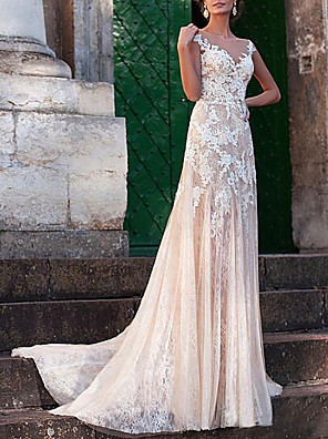 cheap Wedding Dresses-A-Line Wedding Dresses Jewel Neck Sweep / Brush Train Lace Tulle Cap Sleeve Sexy See-Through Backless with Embroidery Appliques 2020