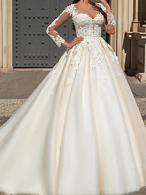 cheap Wedding Dresses-A-Line Wedding Dresses Jewel Neck Court Train Lace Tulle Long Sleeve Formal See-Through with Embroidery 2020