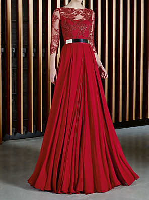cheap Wedding Dresses-A-Line Mother of the Bride Dress Elegant Illusion Neck Jewel Neck Floor Length Chiffon Lace 3/4 Length Sleeve with Sash / Ribbon Pleats 2020