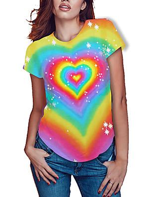 cheap Plus Size Dresses-Women's Plus Size Rainbow Graphic Pride Day Print Loose T-shirt Basic Rainbow