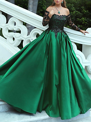 cheap Prom Dresses-Ball Gown Luxurious Green Quinceanera Prom Dress Off Shoulder Long Sleeve Sweep / Brush Train Stretch Satin with Pleats Appliques 2020