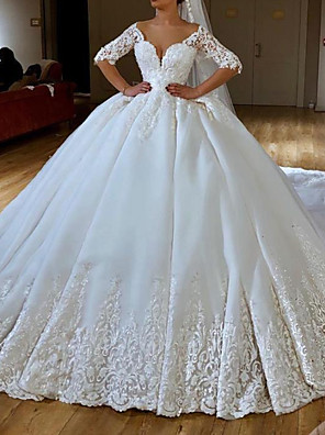 cheap Wedding Dresses-Ball Gown Wedding Dresses V Neck Chapel Train Lace Chiffon Over Satin Half Sleeve Formal Sexy with Embroidery Appliques 2020