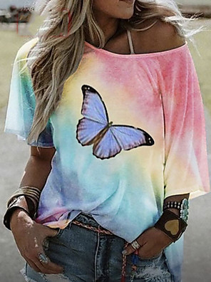 cheap Prom Dresses-Women's T-shirt Tie Dye Animal Tops Blue Purple Red / Short Sleeve