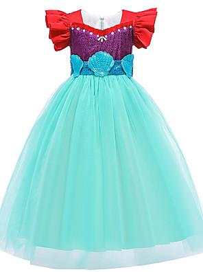 cheap Girls' Dresses-Kids Toddler Girls' Active Sweet The Little Mermaid Patchwork Patchwork Short Sleeve Midi Dress Green