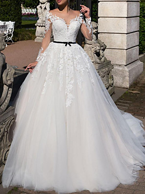 cheap Wedding Dresses-A-Line Wedding Dresses Off Shoulder Tea Length Tulle Short Sleeve Vintage Sexy Wedding Dress in Color See-Through with Sashes / Ribbons Embroidery Appliques 2020