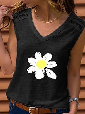 cheap Women's T-shirts-Women's Tank Top Floral Tops Black Blue Red / Sleeveless