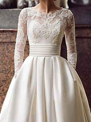 cheap Wedding Dresses-Ball Gown Wedding Dresses Jewel Neck Sweep / Brush Train Lace Satin Long Sleeve Romantic See-Through with Embroidery Appliques 2020