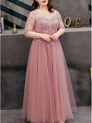 cheap Evening Dresses-A-Line Cut Out Plus Size Prom Formal Evening Dress Jewel Neck Half Sleeve Floor Length Tulle with Embroidery 2020